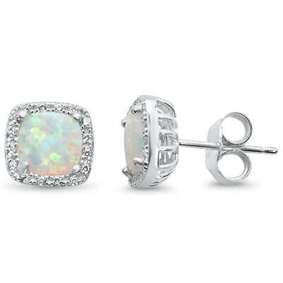 Halo Cushion Cut White Opal & Cubic Zirconia .925 Sterling Silver - Cubic Zirconia Cushion Earrings