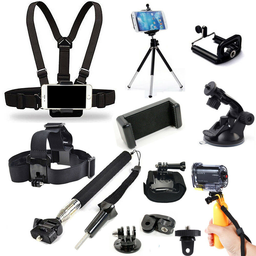 Head Chest Mount Monopod Accessories Kit For GoPro Hero Sony
