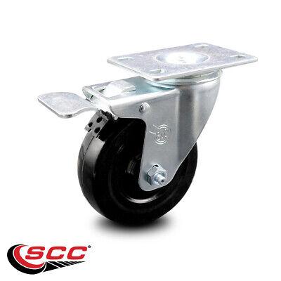 Hard Rubber Swivel Top Plate Caster W4 Wheel Total Lock Brake