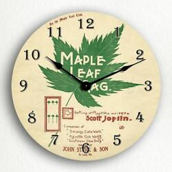 Maple Leaf Rag Sheet Music Cover Artwork 12 Silent Wall Clock