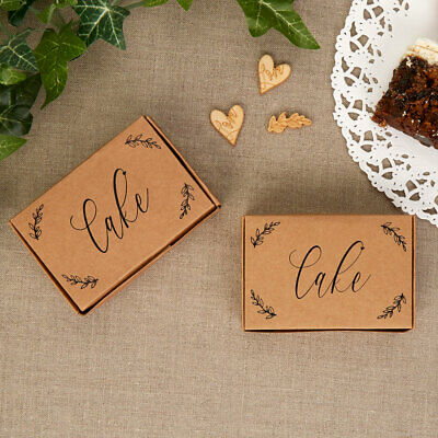 Kraft Boxes Birthday Cake Boxes Wedding Favour Rustic Print Script