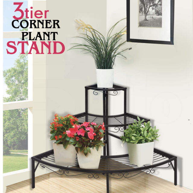 indoor shelf outdoor indoor metal pot plant stand garden 3 tier planter shelves