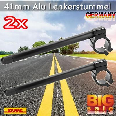 2x 41mm Alu Lenkerstummel Stummellenker Clip On Lenker CNC Für Motorrad Racer DE
