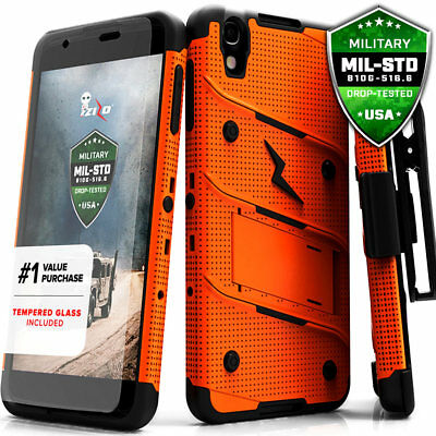 For Alcatel Idol 4 Case Cover Tempered Glass Kickstand Holster Armor Shockproof