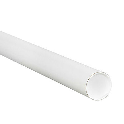 "New 2x6"" White Shipping Mailing Postal Tube w/ End Caps 50pc Uline P/N S-3621"