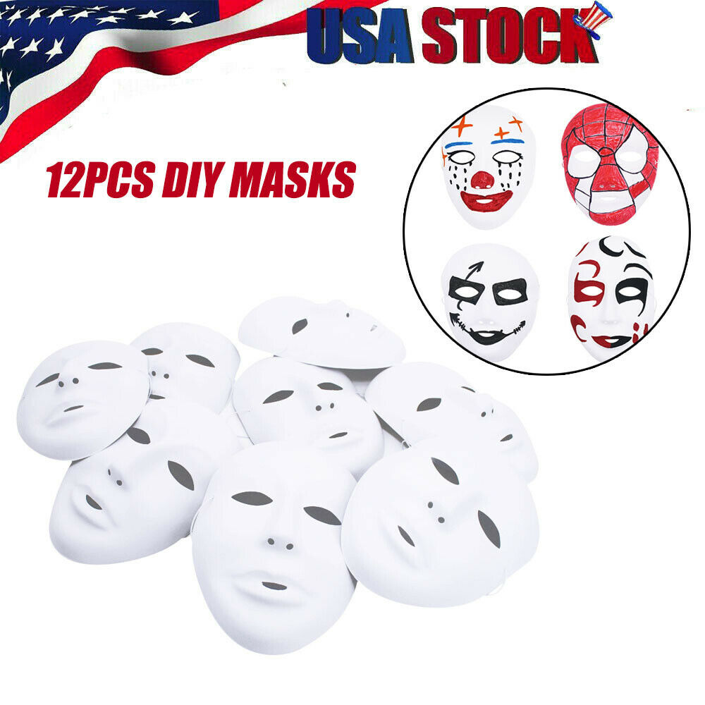 12pcs DIY Masks Black White Halloween Costumes Cosplay Mask for Masquerade Party Accessories