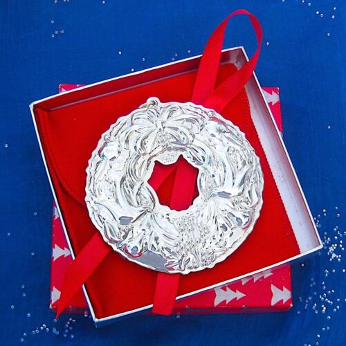 NEW • Wallace 1999 Christmas WREATH Sterling Silver Ornament 6th