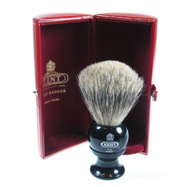 Kent BLK2 Shaving Brush Pure Grey Badger Bristle Black Handle MEDIUM COARSE HAIR