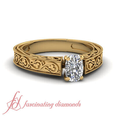 1/2 Carat Cushion Cut Victorian Solitaire Diamond Rings For Women Engagement GIA
