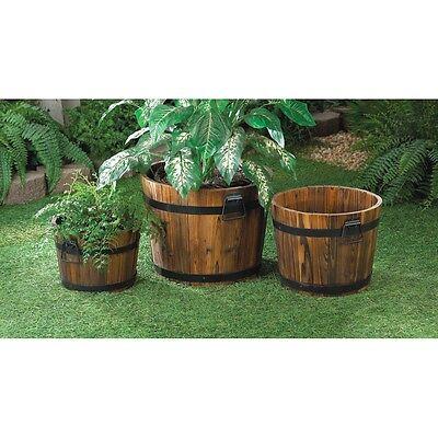 Apple Barrel Wooden Planter Trio Handles Oak Yard Patio Black Metal Bands for sale  Appleton