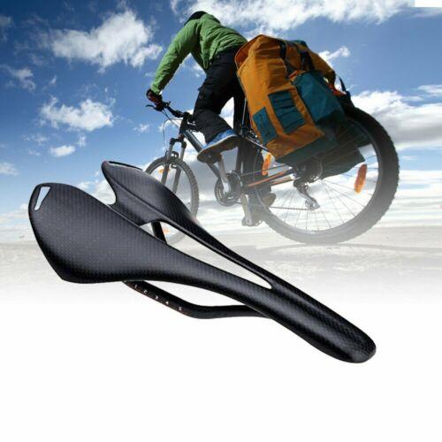 3K Carbon Fiber Leather Seats MTB Road Bike Hollow Saddle Cushion Oval Rail Seat