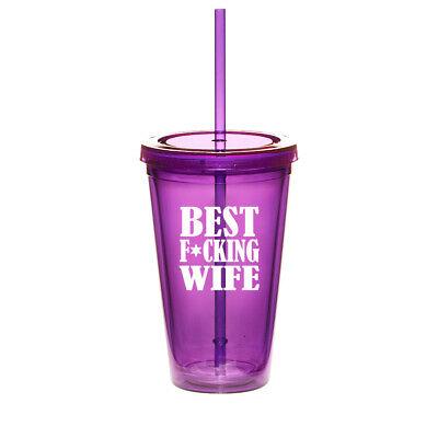 16oz Double Wall Acrylic Tumbler Mug Cup w/ Straw Best F ing
