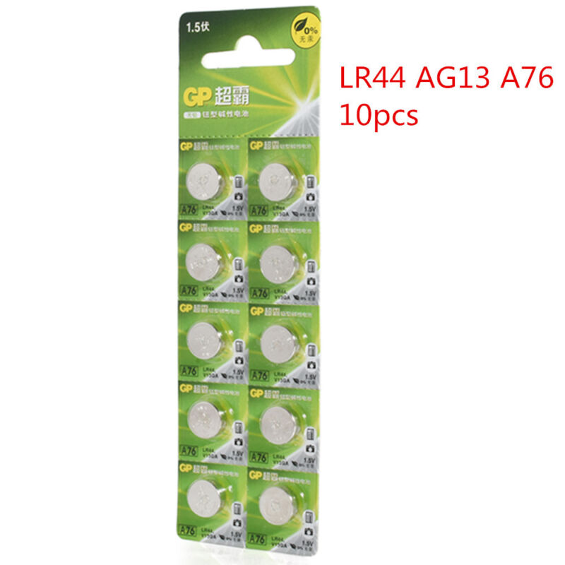 10pcs 1.5V GP LR44 AG13 A76 SR66 Button Cell Coin Battery Batteries NEW