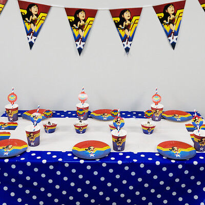 Marvel Clothes For Kids (74pcs Wonder Woman Theme for 12 Kids Child Party Decoration Plate Cups Cloth)