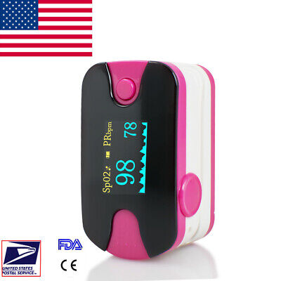 Usa Oled Blood Oxygen Finger Pulse Oximeter Oxymeter Spo2 Pr Tester Rose Fda