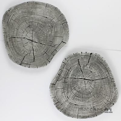 XXL Trittsteine Baumscheiben Holzoptik Garten 2 Paar Beton Tritt-Steine Ø 30 cm