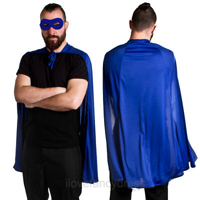 BLUE SUPERHERO CAPE AND MASK HALLOWEEN FANCY DRESS COMIC BOOK CHARACTER COSTUME (Comic Book Character Halloween Costume)