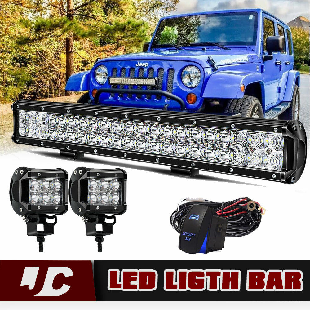 """42 inch LED Work Light Bar 2x 4/"""" CREE Led Pods ATV Off Road Truck Jeep Ford 40"""