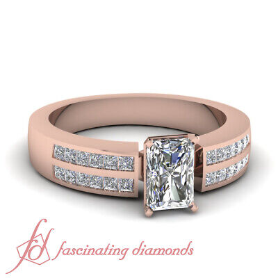 2 Row Channel Set Engagement Rings For Women With Radiant Cut Diamond 3/4 Ct GIA