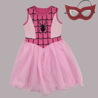 Girls Spider-Girl Dress Kids Pink Spiderman Costume Party + Mask L8