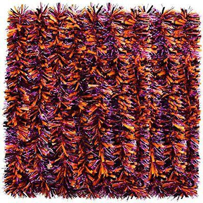WILLBOND Halloween Tinsel Garland Black Orange Purple Shiny Metallic Hanging
