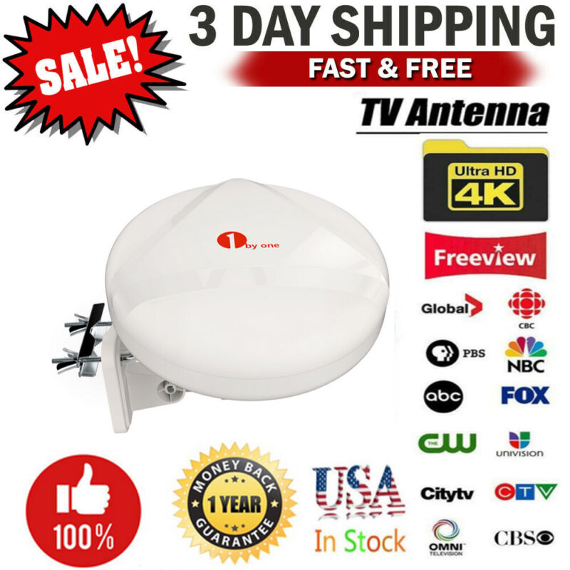 1Byone Outdoor HD TV Amplified Antenna Digital FM/VHF/UHF 100 Miles New Concept