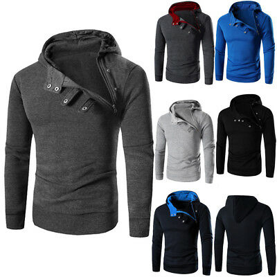 Diagonal Zipper (Men Diagonal Zipper Buttons Long Sleeve Hoodie Hooded Sweatshirt Tops Coat  )