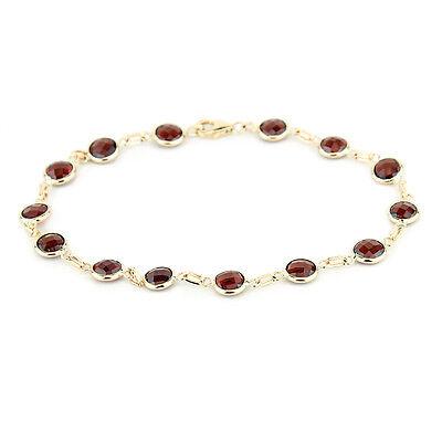 14K Yellow Gold Fancy Cut Garnet Gemstones Bracelet 8 Inches