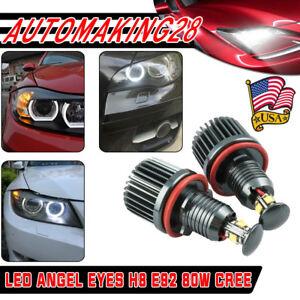 80W H8 LED Angel Eyes Halo Lights Bulb 6000K For BMW E92 E93 E63 E70 X5 USA