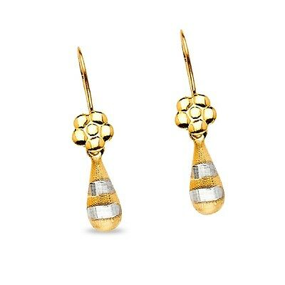 Dangle Earrings Flower Teardrop Solid 14K Yellow   White Gold Drop Satin Small