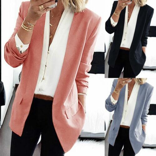 Damen Mode Business Blazer Slim Jersey Sommer Jacke Sakko Freizeit Büro Office