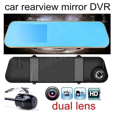 """Car Camera DVR Digital Video Recorder Total 2 lens  4.3"""" Review Mirror HD 1080P"""