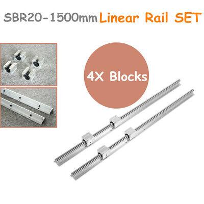 2X SBR20-1500mm Linear Rail Slide Guideway Shaft + 4X SBR20UU Block Bearings SET