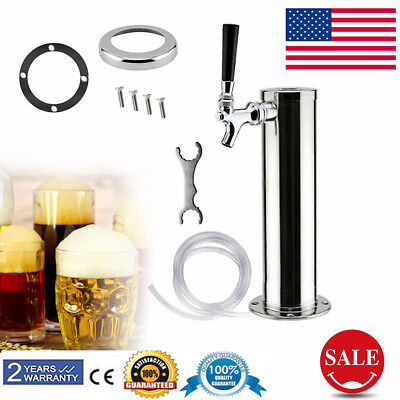 Single Tap Draft Beer Tower Stainlesssteel Homebrew Kegerator Chrome Beer Faucet