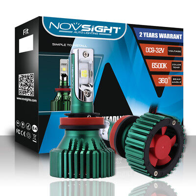 NOVSIGHT 16000LM H11 H8 H9 LED Headlight Bulbs 6500K All In One w CREE LED Chip