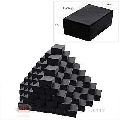 100 Black Swirl Cotton Filled Jewelry Gift Boxes 2 58 X 1 12 Charm Pendant