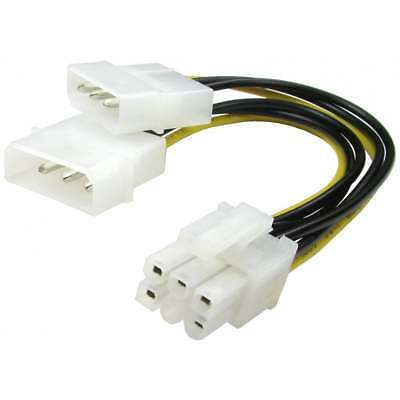 LP4 Molex to 6 Pin PCI Express PCI-E Graphics Card Power Cable Adaptor (D pin 5)
