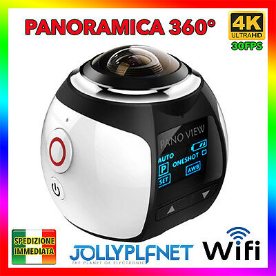 V1 360° PANORAMA 4K 30FPS WIFI SPORT ACTION CAMERA SUBACQUEA 16MP HD VIDEOCAMERA