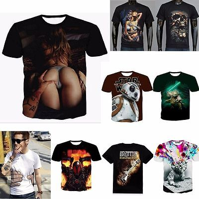 Hot Mens 3d print Summer Short Sleeve Casual Slim Fit T-Shirts Graphic Tee Shirt