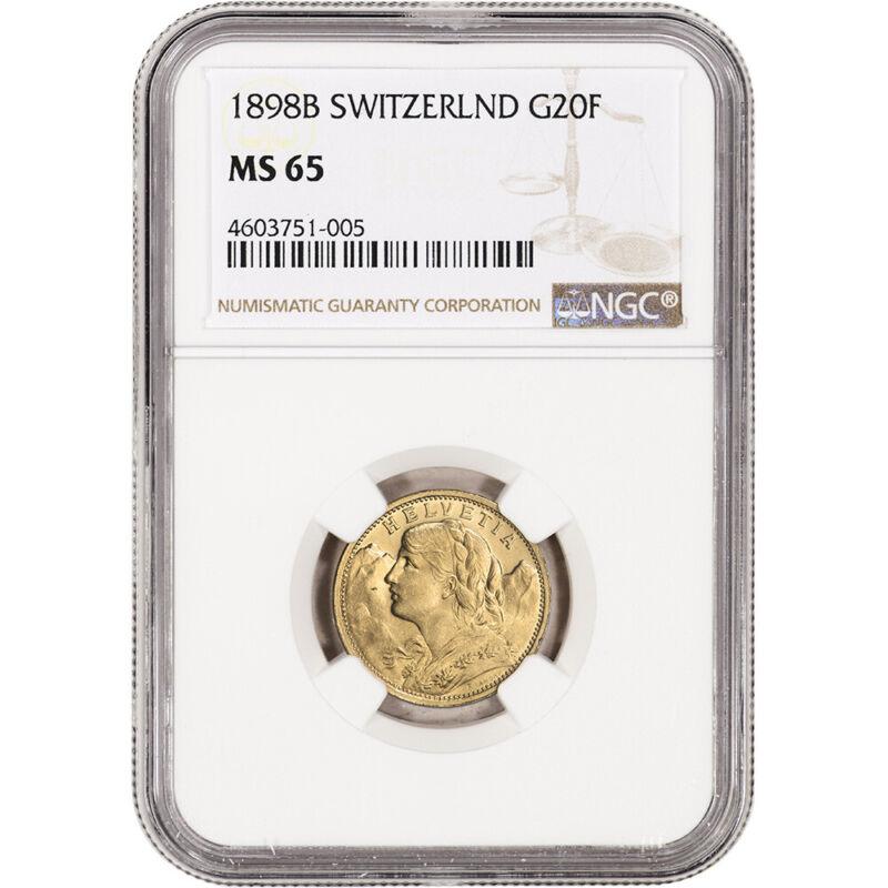 1898 B Switzerland Gold 20 Francs - NGC MS65
