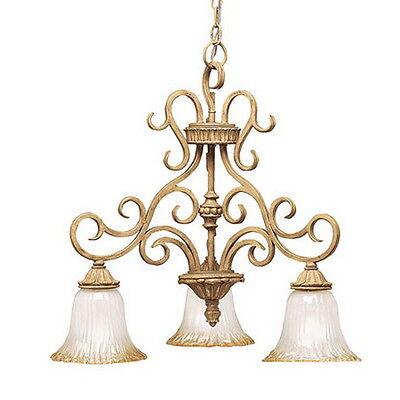 Kichler 3 Light Golden Brulee And Golden Antique Etched Glass Chandelier (Brulee 3 Light)
