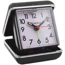 Westclox Folding Travel Alarm Clock with Analog Display and Protective Case