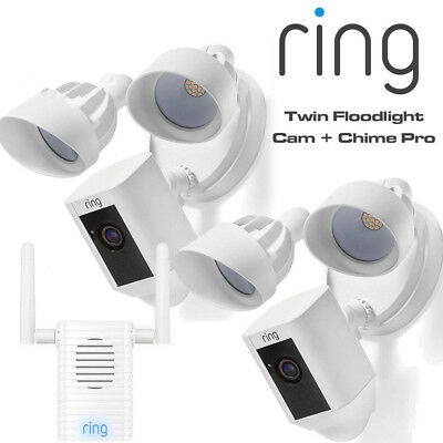Ring Floodlight Cam Twin Motion-Activated HD Alarm 2-Way Talk Security Chime Pro