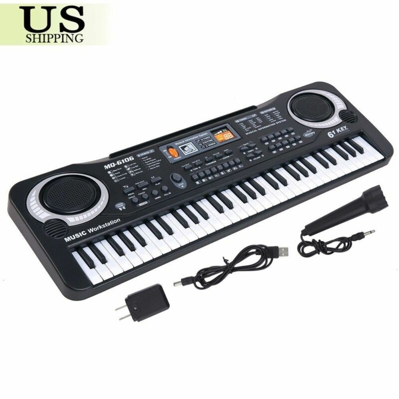 61 Key Electronic Keyboard Music Electric Digital Piano Organ w/ Mic & Adapter