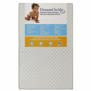 "Dream On Me 24 Portable 3"" Crib Mattress, White"