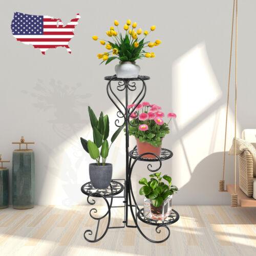 4 TIER Metal Shelves Flower Pot Plant Stand Display Indoor O