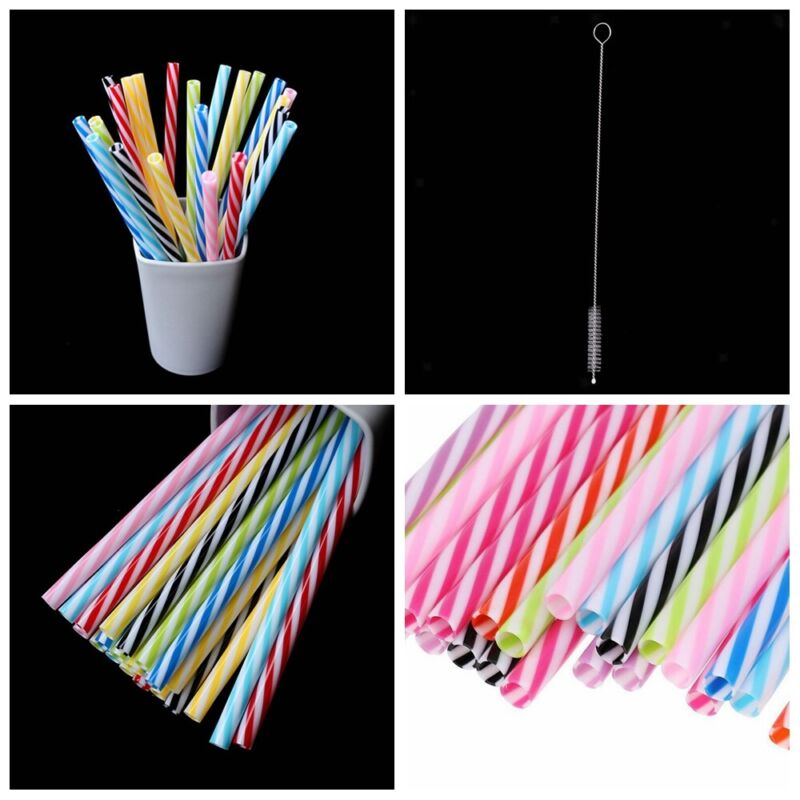 Plastic Reusable Hard Stripe Jar Straws 25Pcs + 1Pcs Brush Cocktail Drinking Bar