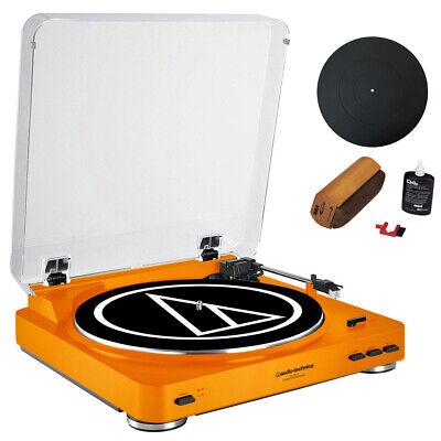 "Audio-Technica AT-LP60 Orange Turntable, 12"" Mat, Cleaning F"