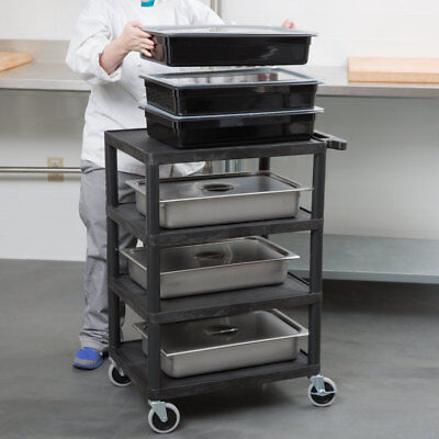 Luxor Bc45-b Plastic 4 Shelf Rolling Storage Serving Utility Cart In Black New