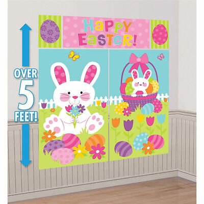 Easter Party Scene Setters Wall Decoration Kit Supplies Bunny Egg Hunt ~ 5pc - Easter Party Supplies